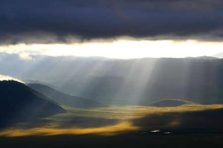 view at ngorongoro crater in tanzania, africa, at early morning