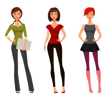 Illustration pour cute cartoon girl with various outfits and hairstyle - image libre de droit