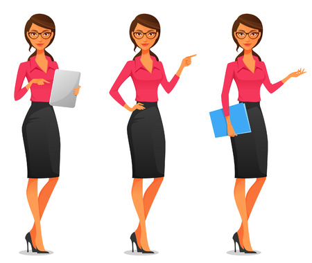 Illustration pour cartoon illustration of a beautiful young business woman in various poses - image libre de droit