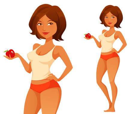Illustration pour cute woman holding an apple - image libre de droit