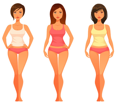 Illustrazione per cartoon illustration of a young woman with healthy slim body - Immagini Royalty Free