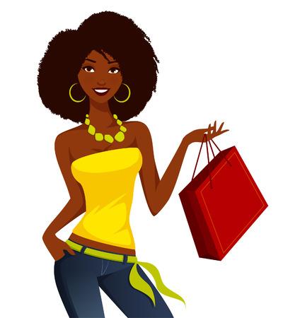Illustration pour Young African American woman shopping - image libre de droit