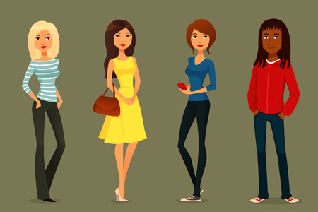 cute cartoon illustration of young people in various outfits