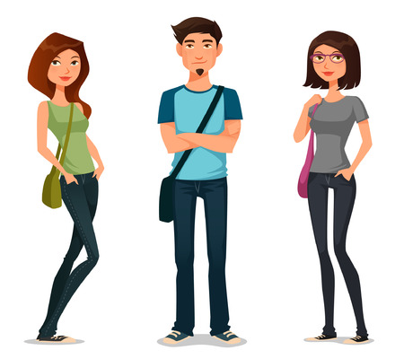 Illustration for cartoon illustration of students in casual fashion - Royalty Free Image