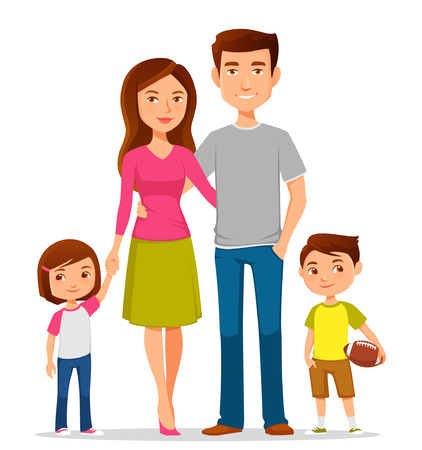 cute cartoon family in colorful casual clothes