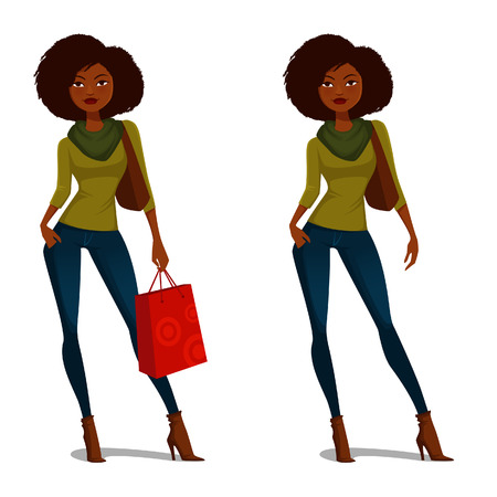 Foto de African American girl with natural hair in casual autumn outfit - Imagen libre de derechos