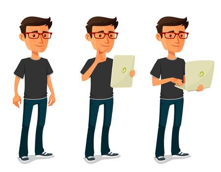 Ilustración de cartoon guy with tablet and notebook - Imagen libre de derechos
