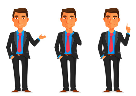 Illustration pour cartoon illustration of a handsome young businessman in various poses - image libre de droit