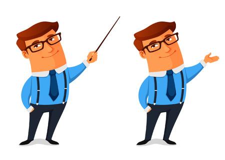 Ilustración de funny cartoon businessman presenting or showing something - Imagen libre de derechos