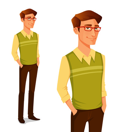 Ilustración de cartoon illustration of a young guy in hipster fashion - Imagen libre de derechos