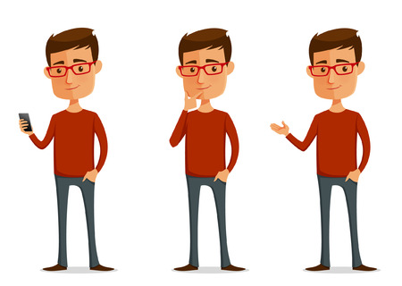 Ilustración de funny cartoon guy with glasses in various poses - Imagen libre de derechos