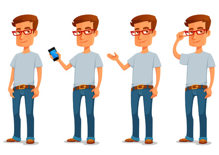 Ilustración de funny cartoon guy in casual clothes in various poses - Imagen libre de derechos