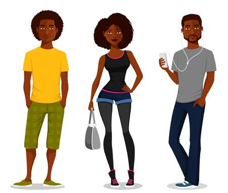 Illustration pour cartoon illustration of young people - image libre de droit