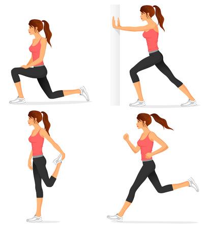 Ilustración de illustrations of basic stretching exercises related to jogging - Imagen libre de derechos