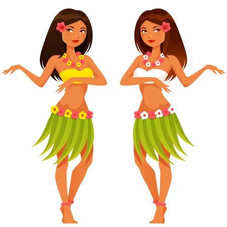 Ilustración de beautiful Hawaiian girl dancing in traditional costume - Imagen libre de derechos