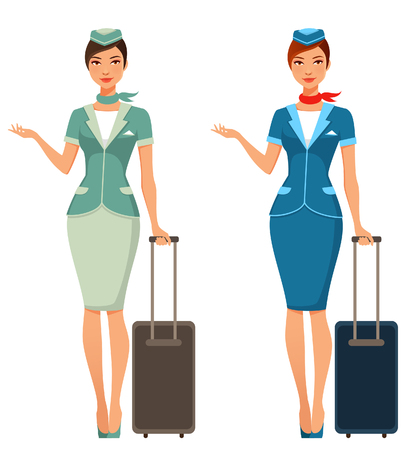 Ilustración de beautiful stewardess with suitcase - Imagen libre de derechos