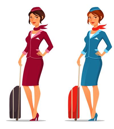 Ilustración de cute cartoon flight attendant with suitcase - Imagen libre de derechos