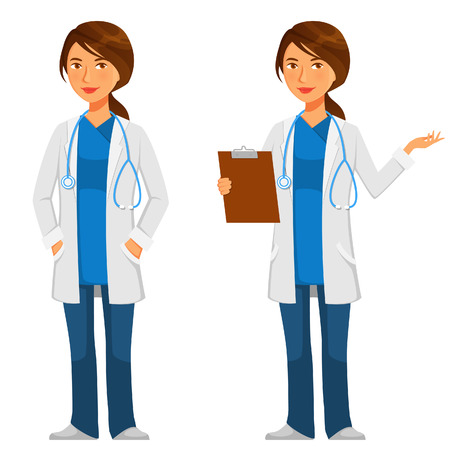 Illustration pour friendly young doctor in white coat with stethoscope - image libre de droit