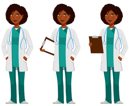Ilustración de cartoon illustration of an African American doctor - Imagen libre de derechos