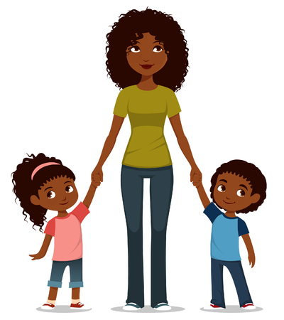 cartoon illustration of an African American mother with two kids