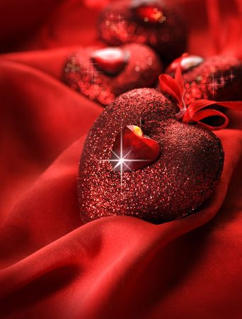 Valentine Hearts and red silk