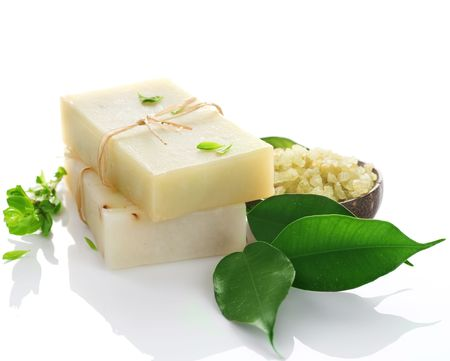 Handmade Soap over white.Natural ingredients