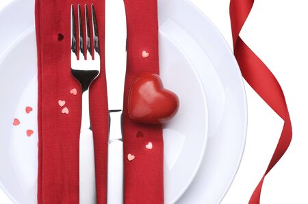 Valentine Table Setting place.Romantic dinner concept