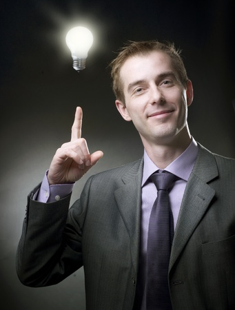 Businessman with Idea Bulb