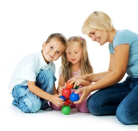 Photo pour Children playing on the floor. Educational games for kids  - image libre de droit