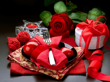 Romantic Dinner. Place setting for Valentineの写真素材