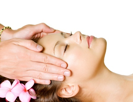 Spa Massage  Beauty Woman Getting Facial Massage  Day-Spa