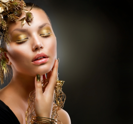Golden Makeup  Luxury Fashion Girl Portrait