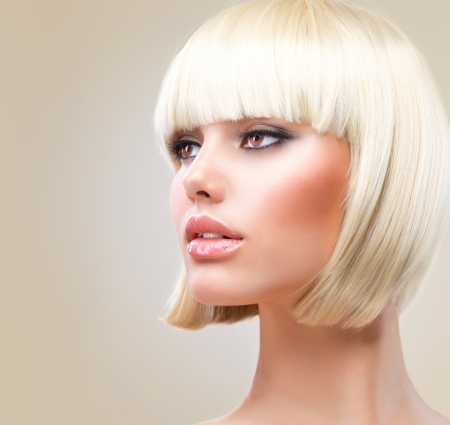 Haircut  Beautiful Girl with Healthy Short Blond Hair  Hairstyle