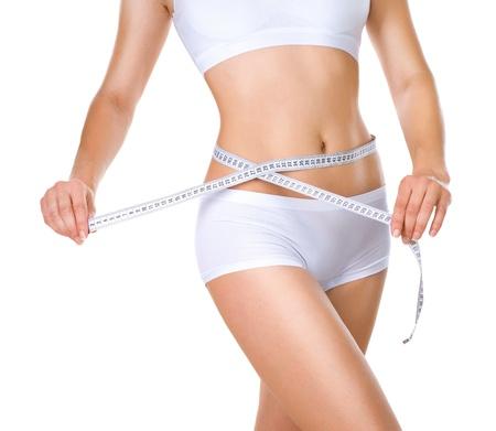 Photo pour Woman measuring her waistline  Perfect Slim Body - image libre de droit