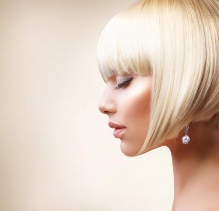 Blond Hair  Beautiful Girl with Healthy Short Hair