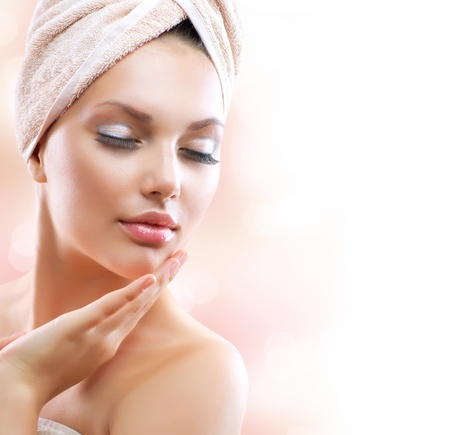 Photo for Spa Girl  Beautiful Young Woman After Bath Touching Her Face - Royalty Free Image