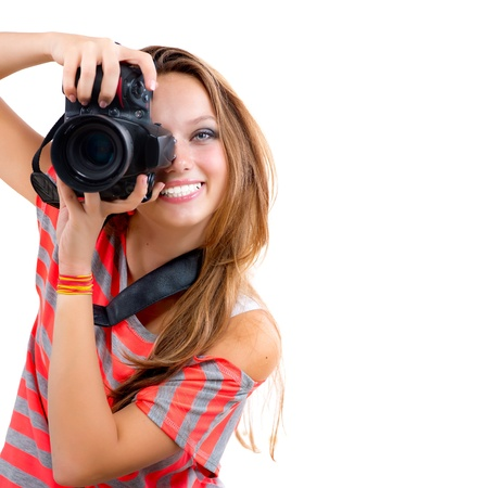 Teenage Girl with Professional Photo Camera  Isolated on white