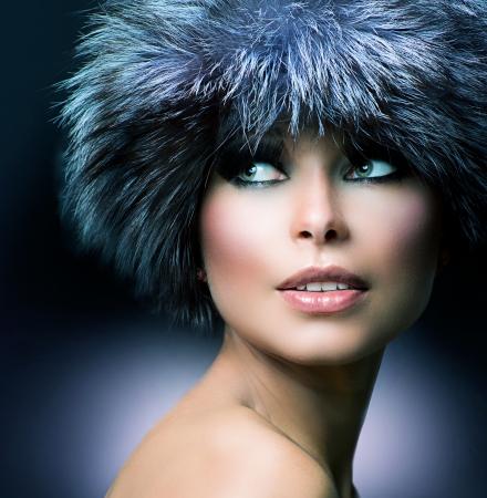 Winter Fashion  Fur Hat  Beautiful Girl in Furry Hat