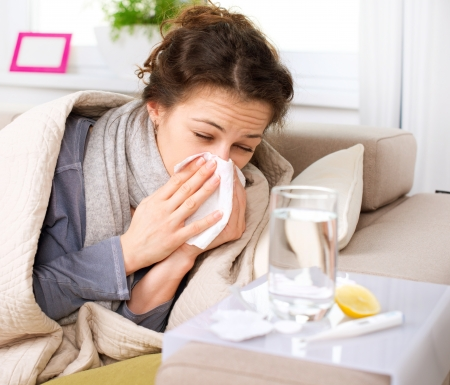 Flu or Cold  Sneezing Woman Sick Blowing Nose