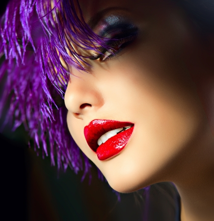 Fashion Art Girl Portrait With Violet Hair  Hairstyle