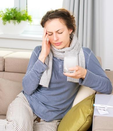 Ill Woman Taking Aspirin Pills Headache