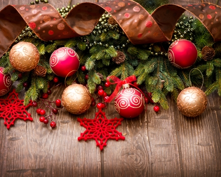 Christmas Over Wooden Background  Decorations over Wood