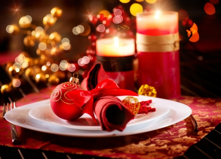 Photo for Christmas Table Setting  Holiday Decorations  - Royalty Free Image