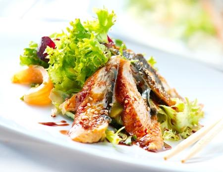 Photo for Salad With Smoked Eel with Unagi Sauce  Japanese Food  - Royalty Free Image