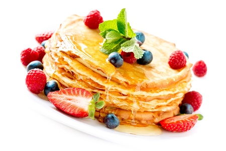 Pancake  Crepes With Berries  Pancakes stack isolated on White