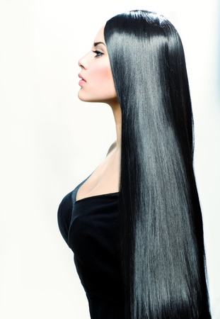 Beauty Girl with Long Straight Black Healthy Hair