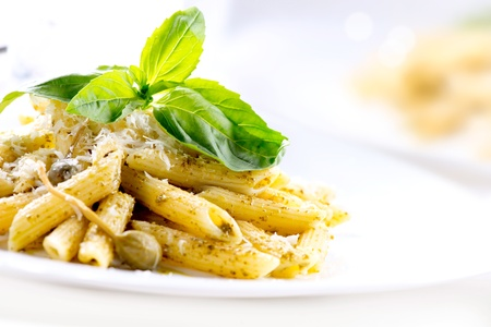 Photo for Penne Pasta with Pesto Sauce  Italian Cuisine  - Royalty Free Image