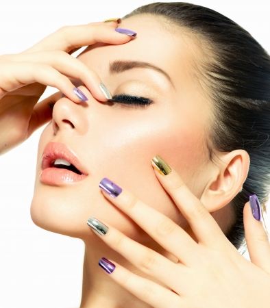 Photo for Beautiful Fashion Girl s Face  Make-up and Manicure  - Royalty Free Image