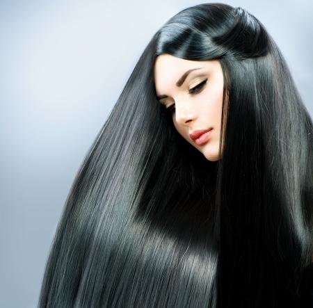 Long Straight Hair  Beautiful Brunette Girl