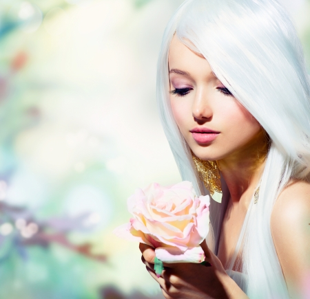 Beautiful Spring Girl With Rose Flower  Fantasyの写真素材